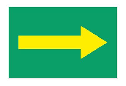 Знак безопасности для маркировки трубопроводов, стрелка желтая