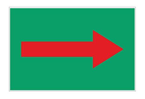 Знак безопасности для маркировки трубопроводов, стрелка красная