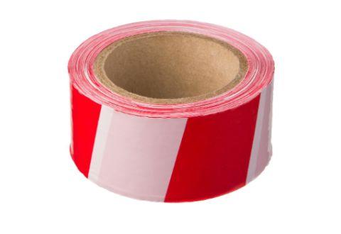 Лента оградительная красно-белая, эконом, 75mm*200m