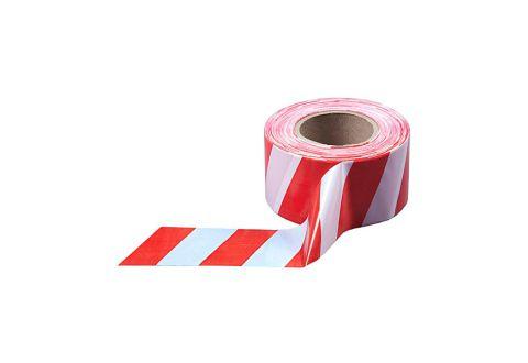 Лента оградительная красно-белая, эконом, 75mm*100m