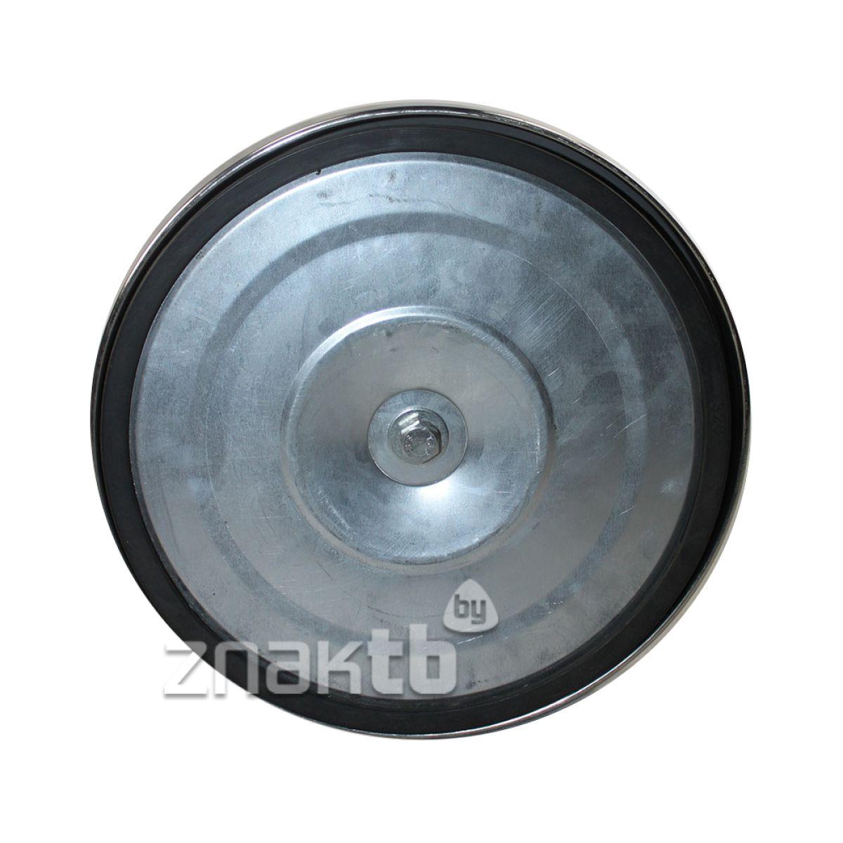 993112 Стойка ограждения серебристая зеркальная основание полуконус черная лента