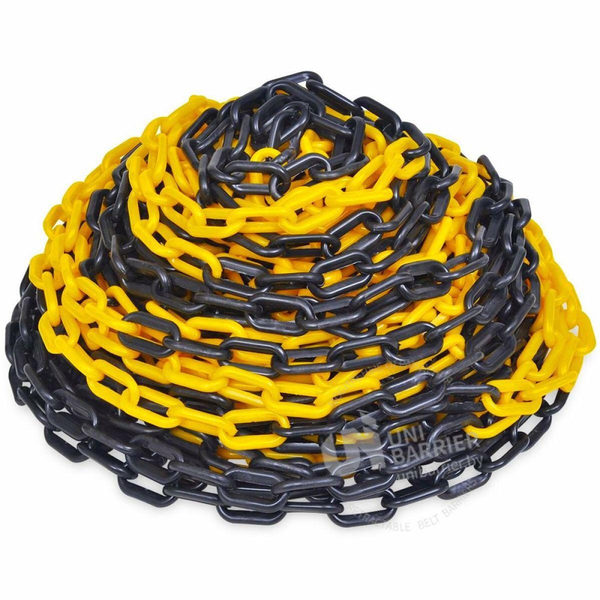 9962 Пластиковая цепочка 8 мм желтая-черная 50 м