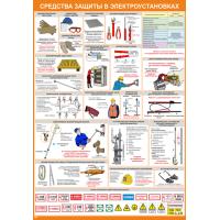 2304 Плакат по охране труда Средства защиты в электроустановках