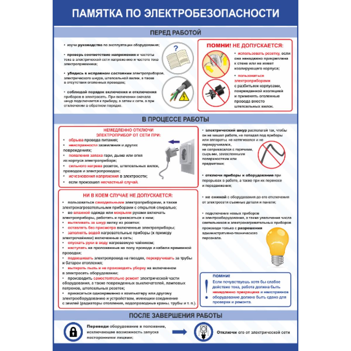 Плакат по охране труда  Памятка по электробезопасности
