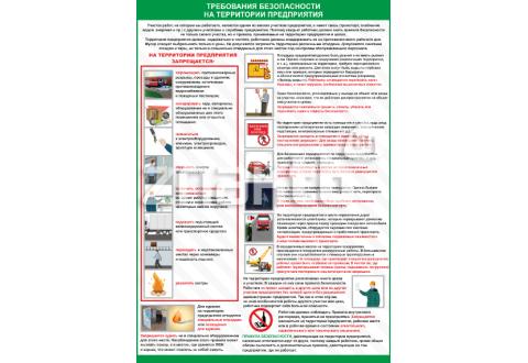 2613 Плакат по охране труда Требования безопасности на территории предприятия