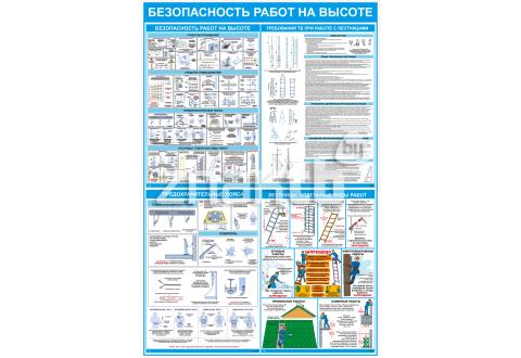 """Стенд информационный """"Безопасность работ на высоте """" 1200*800 мм"""