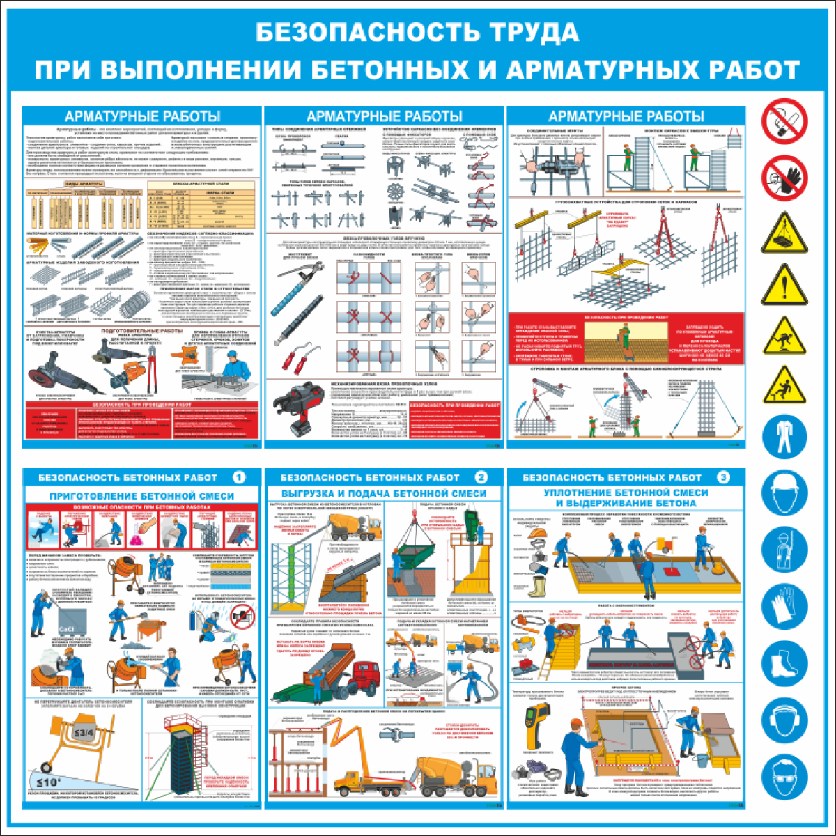 """3557 Стенд """"Безопасность труда при выполнении бетонных и арматурных работ"""" 1000*1000мм"""