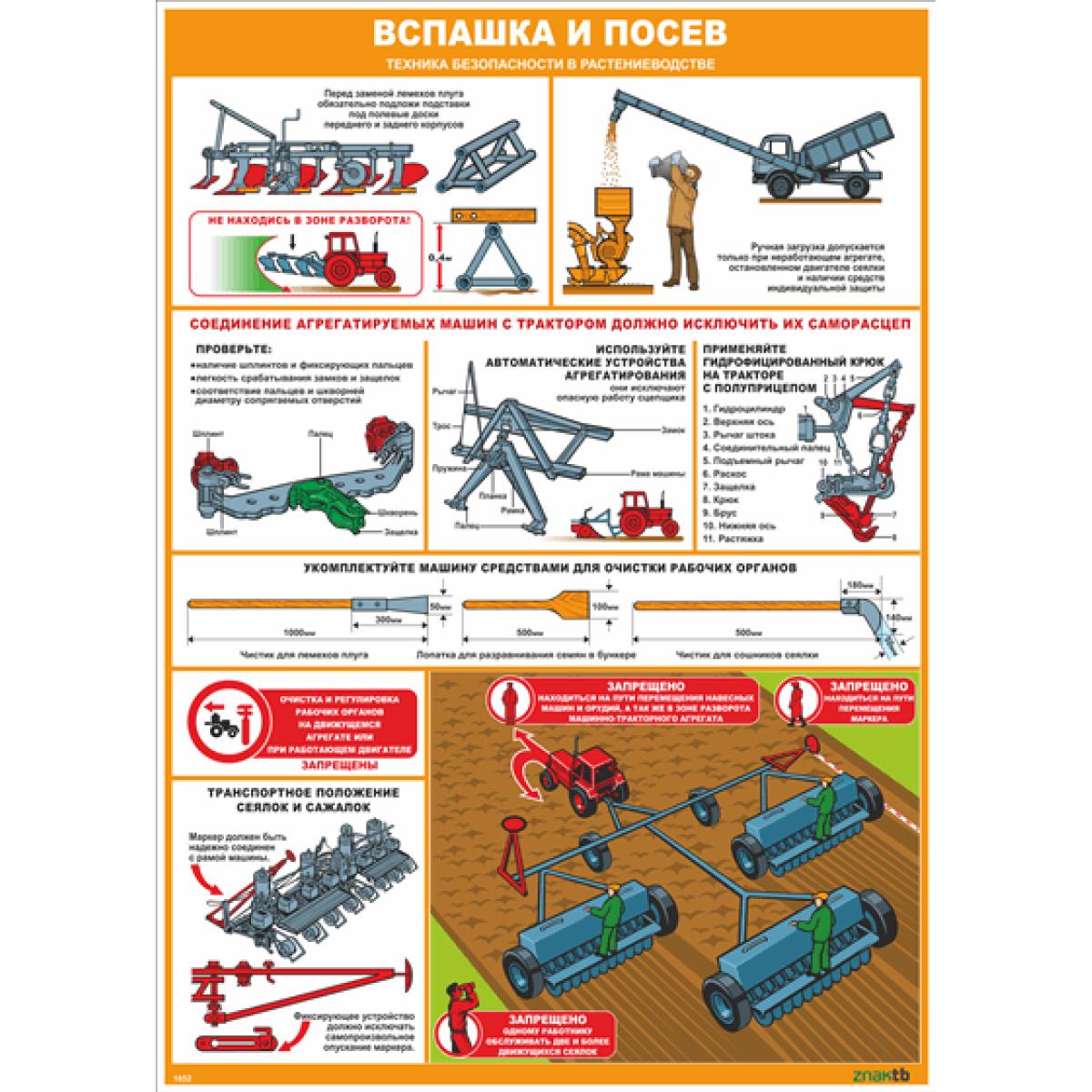 Стенд-плакат Вспашка и посев. Техника безопасности в растениеводстве