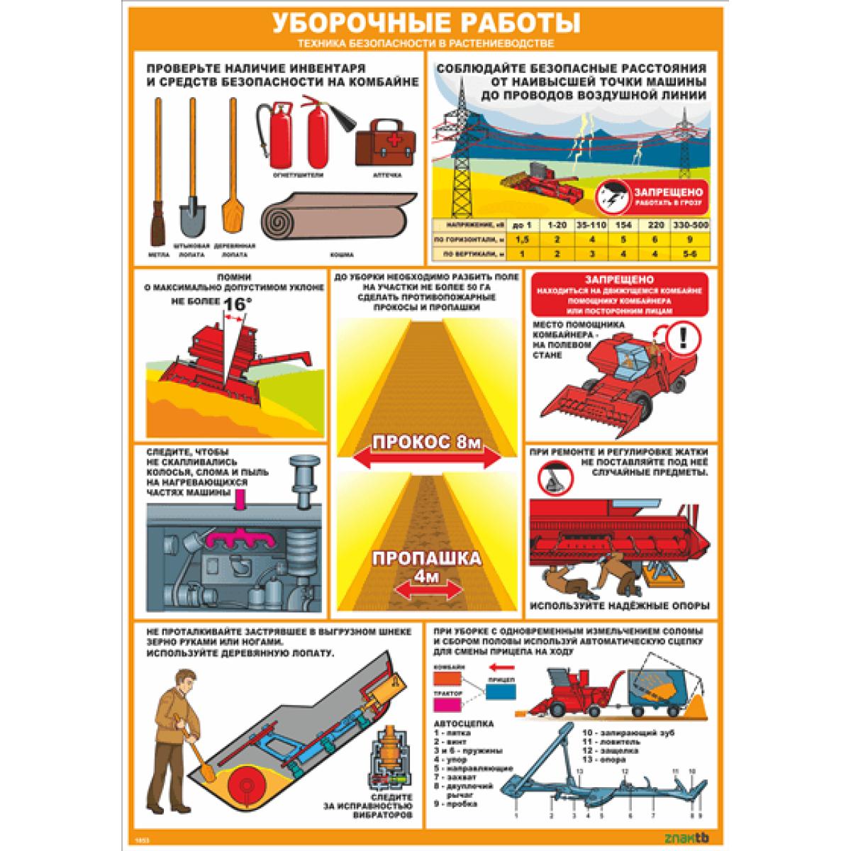 Стенд-плакат Уборочные работы. Техника безопасности в растениеводстве