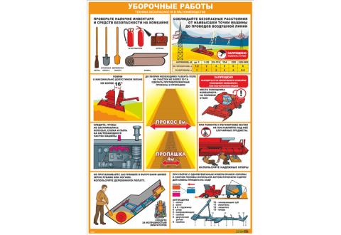 2853 Стенд-плакат Уборочные работы. Техника безопасности в растениеводстве