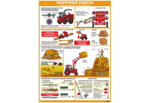 2854 Стенд-плакат  Уборочные работы. Техника безопасности в растениеводстве