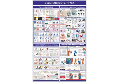 """Стенд информационный """"Безопасность труда"""" 1200*800 мм"""