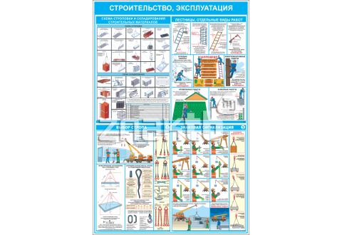 """Стенд информационный """"Строительство, эксплуатация"""" 1200*800 мм"""