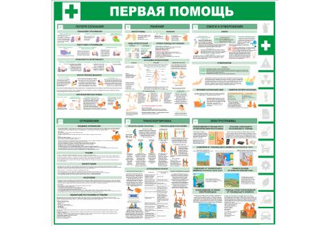 """Стенд информационный """"Первая помощь"""", 1000*1000 мм"""