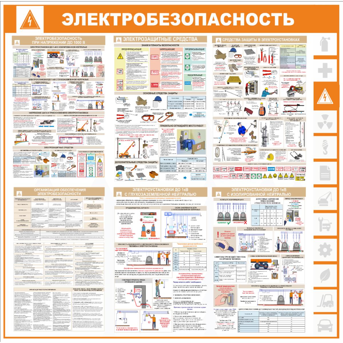 "Уголок по охране труда ""Электробезопасность"", 1000*1000 мм"
