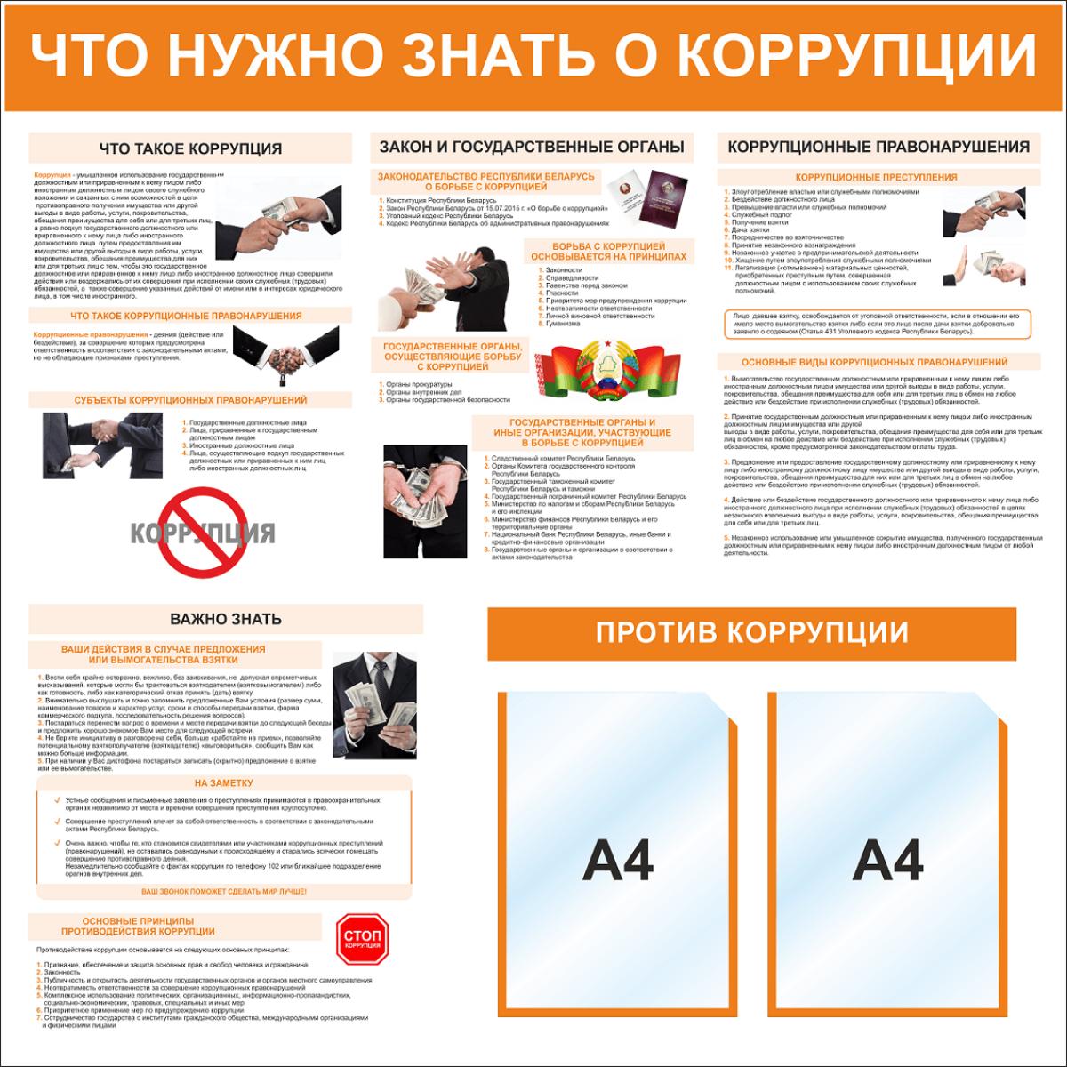 Информационный стенд 4251 с 2-мя карманами А4 Что нужно знать о коррупции