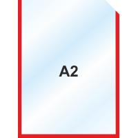 Пластиковый карман А2 вертикальный самоклеющийся, КРАСНЫЙ