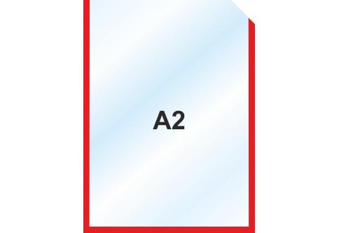 Пластиковый карман А2  вертикальный самоклеящийся, КРАСНЫЙ