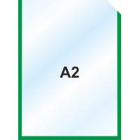 Пластиковый карман А2 вертикальный самоклеющийся, ЗЕЛЕНЫЙ