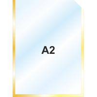 Пластиковый карман А2 вертикальный самоклеющийся, ЗОЛОТОЙ