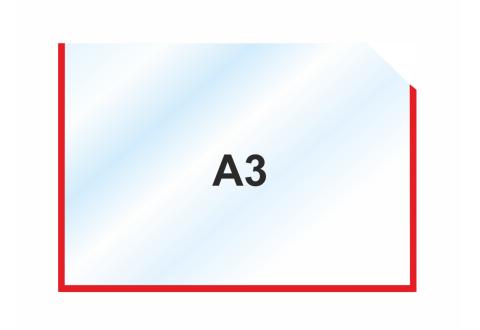 Пластиковый карман А3 горизонтальный самоклеящийся, КРАСНЫЙ