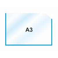 Пластиковый карман А3 горизонтальный самоклеющийся, синий