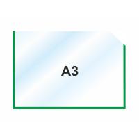 Пластиковый карман А3 горизонтальный самоклеющийся, ЗЕЛЕНЫЙ
