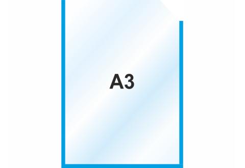 Пластиковый самоклеющийся карман А3 вертикальный, синий