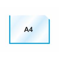 Пластиковый карман для стендов горизонтальный А4, синий
