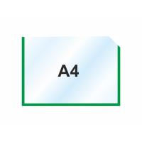 Пластиковый карманы А4 горизонтальный, зеленый