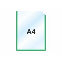 Пластиковый карманы для стендов А4 вертикальный, зеленый