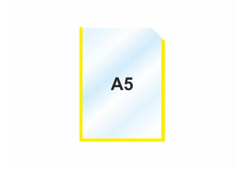 Пластиковый карман А5 вертикальный самоклеящийся, ЖЕЛТЫЙ