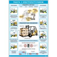 2520 Плакат Работа с электропогрузчиком