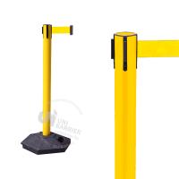 990555 Стойка ограждения пластиковая желтая с желтой лентой