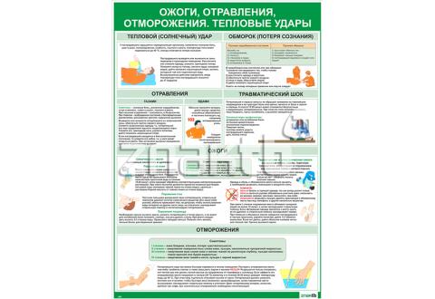 Плакат информационный Ожоги, отравления, отморожения