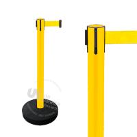 990255 Стойка ограждения пластиковая желтая утяжеленное основание желтая лента