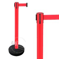 990211 Стойка ограждения пластиковая красная утяжеленное основание красная лента