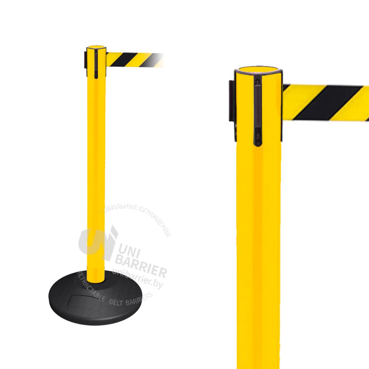 Стойка ограждения пластиковая желтая резиновое основание стандарт желто-черная лента