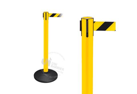 990153 Стойка ограждения пластиковая желтая резиновое основание стандарт желто-черная лента