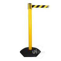 990653 Стойка ограждения пластиковая желтая с черно-желтой лентой
