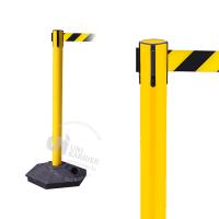 990553 Стойка ограждения пластиковая желтая черно-желтая лента