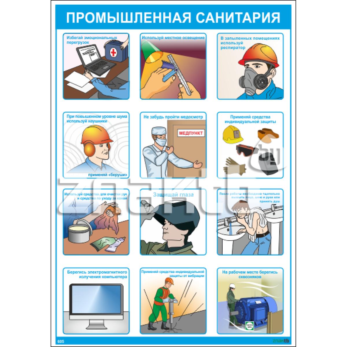 """Плакат по охране труда """"Промышленная санитария"""""""