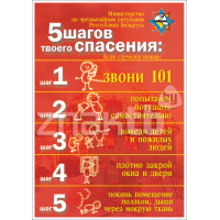 """2150 Плакат по охране труда """"5 шагов спасения. Если случился пожар"""""""