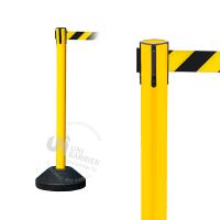 990453 Стойка ограждения пластиковая желтая водоналивное основание черно-желтая лента