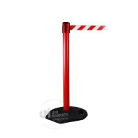 990612 Стойка ограждения пластиковая красная с бело-красной лентой
