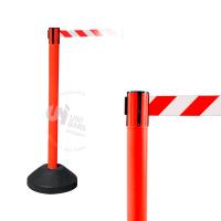 990412 Стойка ограждения пластиковая красная водоналивное основание с красно-белой лентой