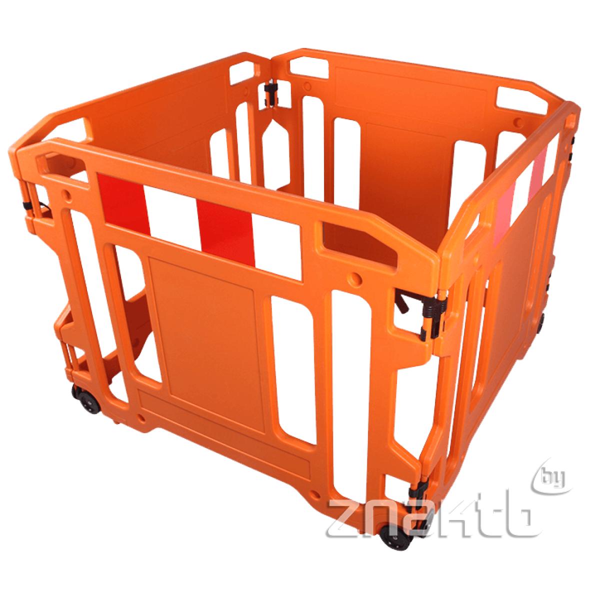 9801 Барьер складной пластиковый на колесиках х4