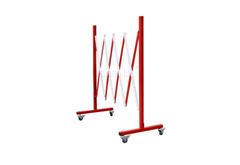983212 Раздвижное ограждение металлическое на колесиках 3 м. красно-белое