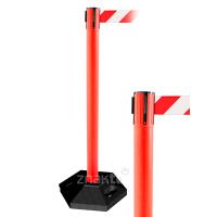 990312 Стойка ограждения пластиковая красная с красно-белой лентой