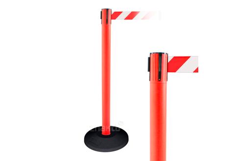 990112 Стойка ограждения пластиковая красная резиновое основание стандарт красно-белая лента